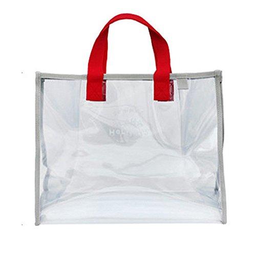 BOLUORY ビニールバッグ トートバック 大容量 スイミング 透明 バッグ プールバッグ 水泳 アウトドア 用 (レッド、)