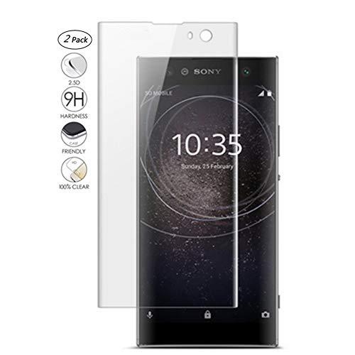 "HERCN Sony Xperia XA2 Plus 6.0"" 3D Displayschutzfolie,3D Curved 9H Härte Gehärtetem Glas Tempered Displayschutz Screen Protector für Sony Xperia XA2 Plus Smartphone (Transparent & 2 Pack)"