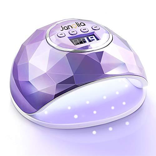 Janolia Lámpara Secador de Uñas, LED UV Lámpara de Uñas 86W con 4 Ajuste de Temporizadores, para Esmalte de Uñas con Sensor Automático y Protección contra Sobretemperatura (Púrpura Plateado)