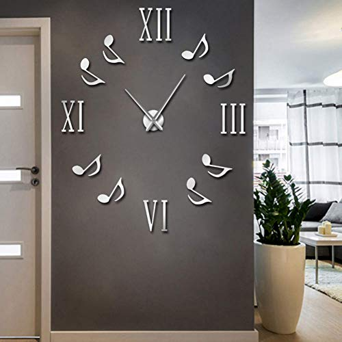 DIY Wall Clock Frameless Large Wall Decoration Music Notes Wall Decor Roman Numberals 3D Wall Watch Large Wall Clock Modern Design Frameless DIY Big Clocks Unique Gift New Year 【Silver】