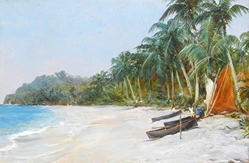 Paraíso Tropical (1921) de Montague Dawson - 60x91 - Tela Canvas Para Quadro