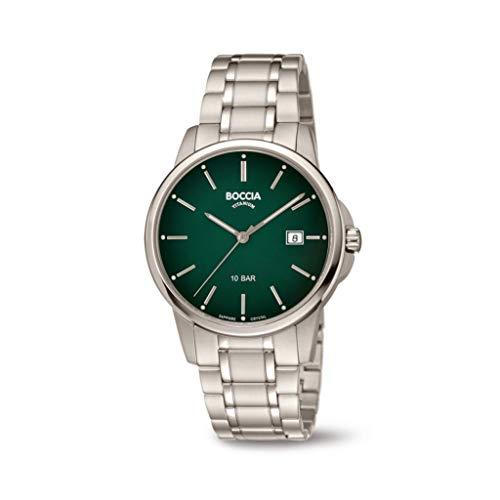 Boccia Herren Analog Quarz Uhr mit Titan Armband 3633-05