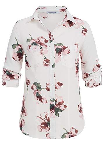 Seventyseven Lifestyle Damen Turn-Up Bluse Blumen Print Shirt 2 Brusttaschen Weiss rosa, Gr:L