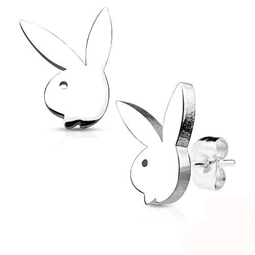 Les Plaisirs de Stella - Pendientes de acero inoxidable plateado – Conejo Playboy (License Oficial)