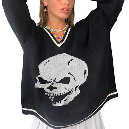 Springcmy Suéter de Punto con Cuello en V para Mujer Jersey de Manga Larga Estilo Preppy Outwear Jerseys de Punto Tops (A-Black, M)