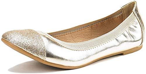 DREAM PAIRS Women's Sole-Flex Gold Ballerina Walking Flats Shoes - 7.5 M US