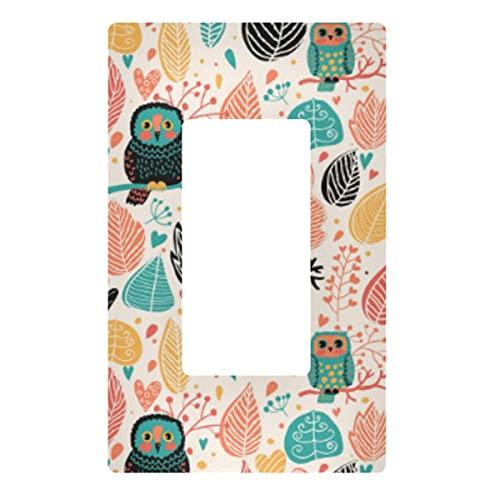Placa decorativa de pared con interruptor de luz – Vintage Floral Owls Outlets interruptor placa cubierta de 3 bandas tomas de corriente para dormitorio, cocina, decoración del hogar