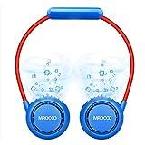 MIROCOO Ventilador USB, Ventilador Portatil, Mini Ventilador Cabello Anti-involucrado, Usable Recargable Ventilador de Cuello, Ventilador Pequeño de Refrigeración para Viajar, Deportes (Azul)