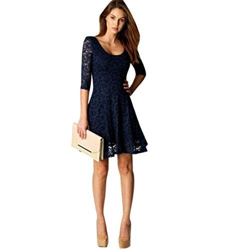 Elecenty Damen Knielang Kleider Spitzekleid Soilde Minikleid Frauen 3/4 Ärmel Mode Kleid Kleidung Rundhals A-Linie Partykleid Abendkleider Sommerkleid (M, Blau)