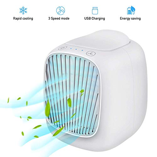 Harddo Air Cooler Fan, 2019 draagbare mini-airconditioningventilator, desktop-mobiele airconditioningventilator, 3-in-1 mini-luchtbevochtiger en -reiniger met 3 snelheden voor op kantoor en thuis wit