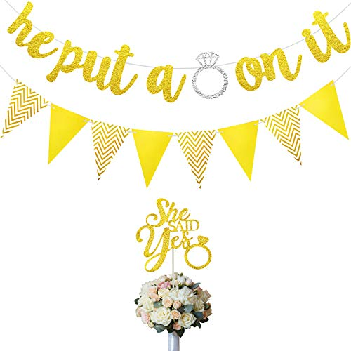 He Put a Ring on It Banner Engagement Banner She Said Yes Cake Topper Triangle Flag for Wedding Engagement Party Decorations Bridal Showers Party Supplies