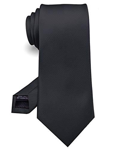 JEMYGINS Schwarz Handgenähte Krawatte for Herren - Arbeit.Party.Vatertag(6)