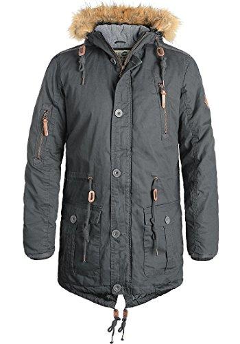 !Solid Clark Herren Winter Jacke Parka Mantel Lange Winterjacke gefüttert aus 100% Baumwolle mit Kunst-Fellkapuze, Größe:M, Farbe:Dark Grey (2890)