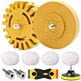 STARHAND 9 Pcs Decal Adhesive Remover, 4 Inch Eraser Rubber Wheels with Pads and Plastic Razor Blade for Removing Stickers, Vinyl, Graphics from Cars, Windows, Boats