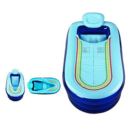 Baignoire gonflable Peaceip Pliante rembourrée Adulte Qui respecte l'environnement de PVC pour l'usage extérieur/d'intérieur (Couleur : Bleu)