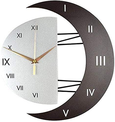 CSPone Orologio da Parete dal Design Moderno e Silenzioso con Cornice a Forma di Luna Orologio da Parete Creativo Orologio da Decorazione per la casa