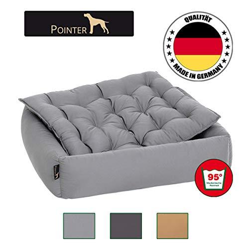 Pointer Set - Hondenbed met hondenkussen, orthopedisch, zachte rand, vormvast, krasbestendig, eenvoudig te reinigen, geschikt voor de droger - wasbaar op 95 °C - Premium kwaliteit - maat, kleur naar keuze, Medium, lichtgrijs