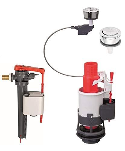 Wirquin – Kit de mécanisme d'économie d'eau filaire à double valve de chasse d'eau + robinet flotteur Jollyfill à valve 3/8 en laiton - MW2