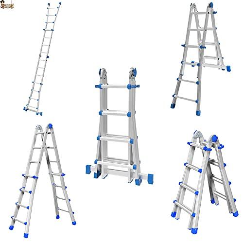 Escalera Plegable telescópica Aluminio Marchetti EQU44. Transformable multiposición. Uso en Tijera o...