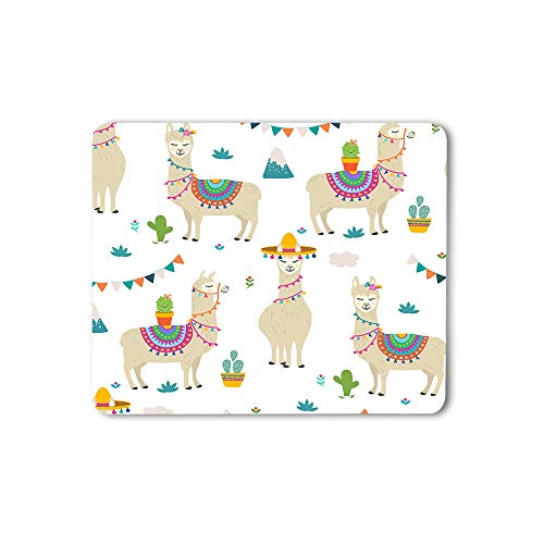 Moslion Llama Mouse Pad Cute Cartoon Alpaca Graphic Hand Drawn Flowers Grass Lovely Animal Gaming Mouse Mat Non-Slip Rubber Base Thick Mousepad for Laptop Computer PC 9.5x7.9 Inch