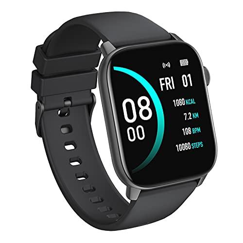 BNMY Smartwatch 1.69' Reloj Inteligente para Hombre Mujer, Reloj Deportivo Impermeable IP68 con Pulsometro, Pulsera Actividad Inteligente con Monitor De Sueño Y Podómetro, Fitness Tracker,Negro