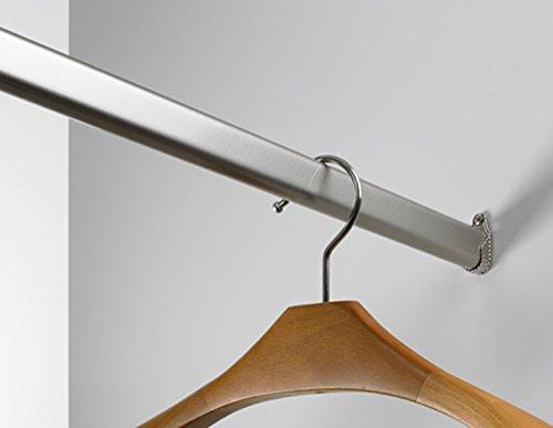 Kleiderstange 130 cm/Schrankrohr 30 x 15 mm hochwertige Chromoberfläche - Set für Garderobe Kleiderschrank oder Nische