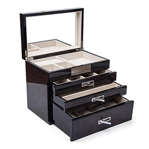 HZH Exquisite Schmuck Klavierlack Schmuckkasten Massivholz-Ring Box Europäische Jewelry Box Multi-Layer-Schmuck Aufbewahrungsbox Geschenk Modern Und Schön Mit Spiegel,Schwarz,25 × 16 × 21 cm