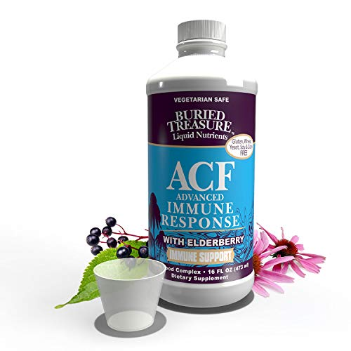 Buried Treasure ACF Advanced Immune Response with 1,000 mg Vitamin C, Elderberry, Echinacea and Herbal Blend for Daily Immune System Support Supplement, 16 oz. with Dose Cup