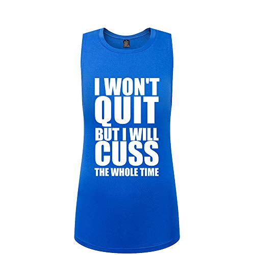 FANNOO Tank Tops for Women-Womens Funny Saying Fitness Workout Racerback Tank Tops Sleeveless Blue Shirts