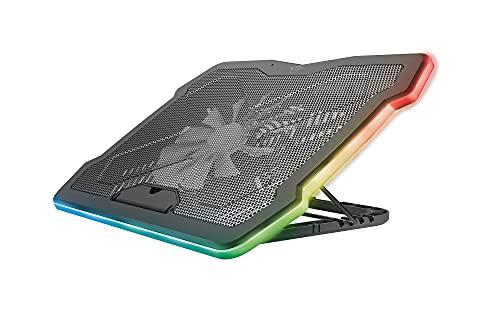 Trust Gaming GXT 1126 Aura Base di Raffreddamento Illuminata Multicolore per Laptop a 17.3 , Velocità Regolabile, Modalità Silenziosa - Nero