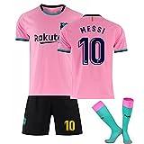 2021 Méssi No.10 Barcélona Home and Weew Football Jersey, Jersey de fútbol para Adultos y niños Conjunto de Jersey + Calcetines, Transpirable y...