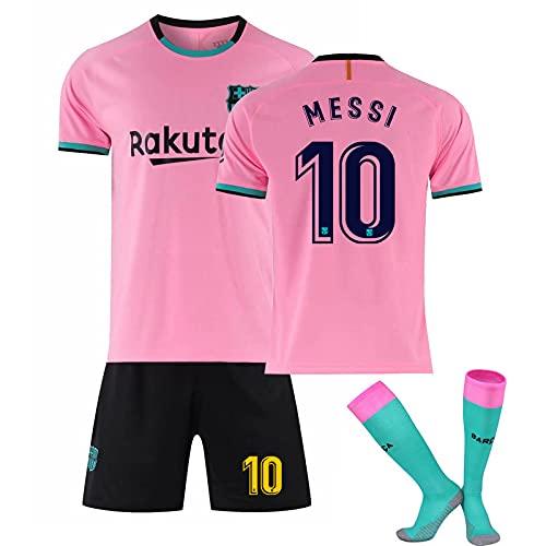 2021 Méssi No.10 Barcélona Home and Weew Football Jersey, Jersey de fútbol para Adultos y niños Conjunto de Jersey + Calcetines, Transpirable y Secado rápido Pink-XXL