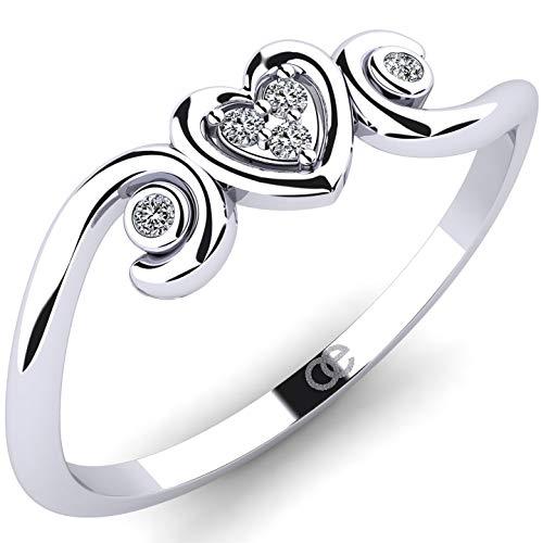 Splendido anello Idella in oro bianco 375 con 5 diamanti VS 0,04 ct - Anello con diamante con cuore da donna di Moncoeur - Anello di fidanzamento da donna - Anello da donna in oro + Scatola regalo