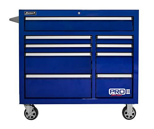 "Homak PRO II Series 41"" 9-Drawer Roller Cabinet, Blue, BL04041092"