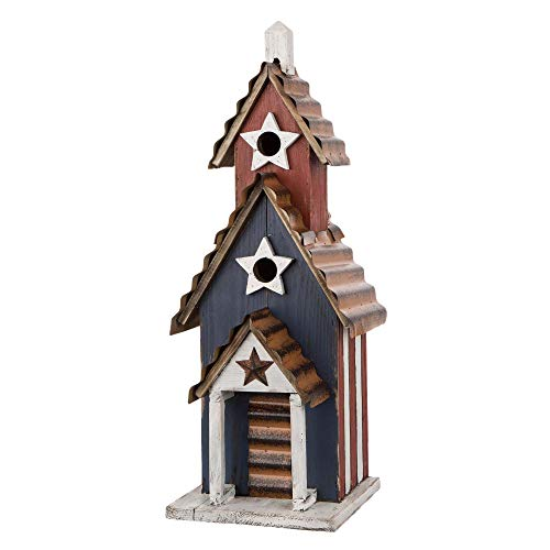 Glitzhome GH70279 Oversized Rustic Wooden Metal Birdhouse...