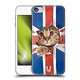 Head Case Designs Gato Espiar A La Bandera del Reino Unido Animales Divertidos Carcasa de Gel de Silicona Compatible con...
