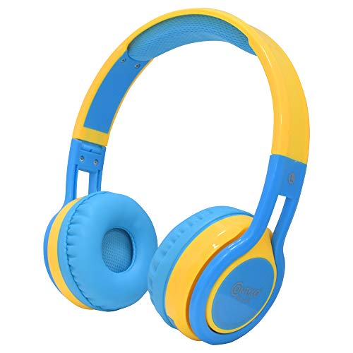 Contixo KB2600 Kids Headphones - Over The Ear Foldable Bluetooth Wireless Headphone for Kids - 85dB with Volume Limited - Micro SD Card Slot - Toddler Headphones for Boys and Girls (Blue + Yellow)
