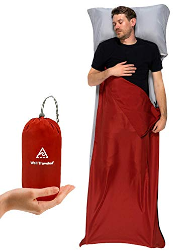 Well Traveled Sleeping Bag Liner – Lightweight Adult Sleeping Sheet for Hiking, Backpacking and Camping – Easily Removable and Washable, Silky Smooth Fabric, Simple to Stuff Sack (Right Side Zipper)
