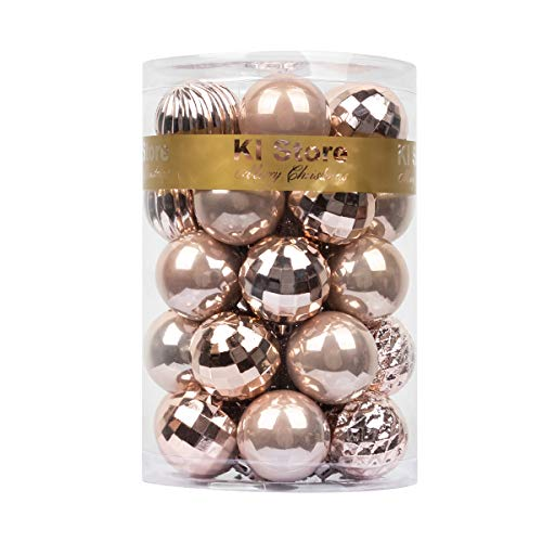 KI Store 34ct Christmas Ball Ornaments 1.57 Small Shatterproof Christmas Decorations Tree Balls for Holiday Wedding Party Decoration, Tree Ornaments Hooks Included (Blush Pink, 1.57-Inch)