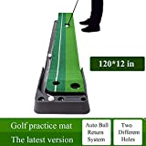 YINGJEE Golf Putting Mat Indoor, Golf Putting Green Outdoor 10ft, Portable Golf Trainer Practice Putting Mat with Auto Ball Return System, Training Aid Equipment Improve Your Batting Skills and Score