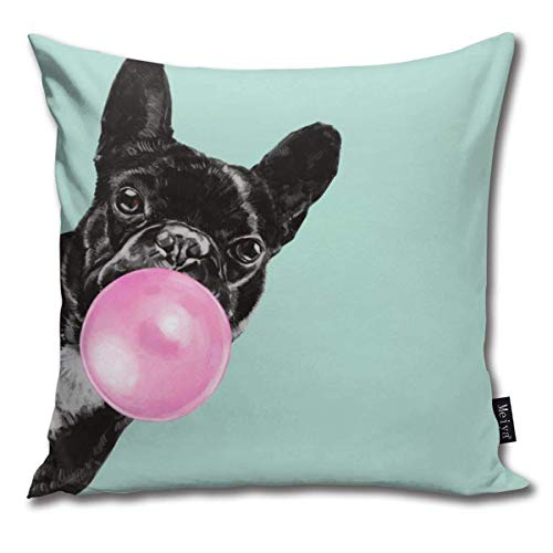 tyui7 Funda de Almohada Bubble Gum Sneaky Bulldog Francés En Verde Pillowcase de decoración Fundas de Cojines para sofá y sofá 45x45 cm