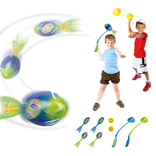 Play22 Foam Missile Football Launcher Set Of 8 Flying Toys - Includes 2 Launchers, 4 Soft Rocket Missile Balls & 2 Soft Balls - Ball Launcher For Kids Also Good For Dog Ball Launcher Great For Outdoor