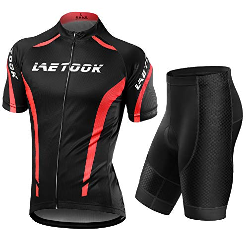 Letook Abbigliamento Ciclismo Uomo Set Maglia e Pantaloncini Completo Ciclismo Estivo da MTB Gel Imbottiti Tuta Bici (Rosso, L)
