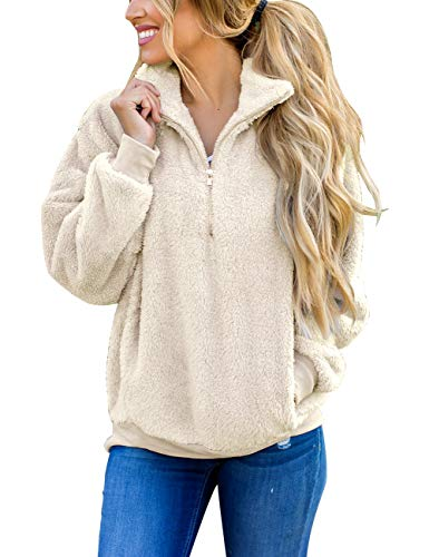 MEROKEETY Women's Long Sleeve Contrast Color Zipper Sherpa Pile Pullover Tops Fleece with Pocket