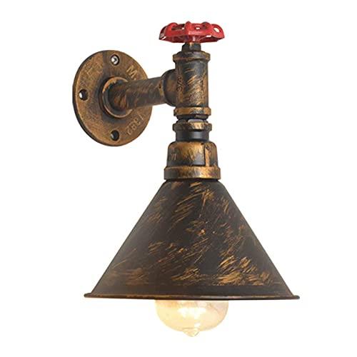 Aplique de pared, E27 Retro Industrial Aplique de pared de metal oxidado Tubería de agua Lámpara de pared Interior Vintage Aplique de pared Luz de estilo americano Creatividad Lámpara decorativa para