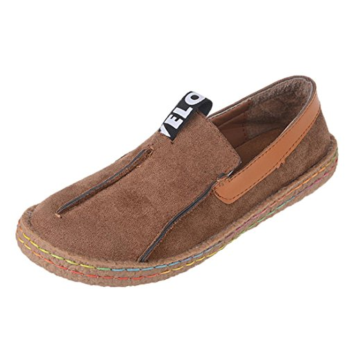 Winwintom Moda Zapatos de los Guisantes de Las señoras Zapatos Perezosos Zapatos Ocasionales Zapatos para Mujer Zapatos Redondos del Verano del Dedo del pie de la Sandalia (40, marrón)
