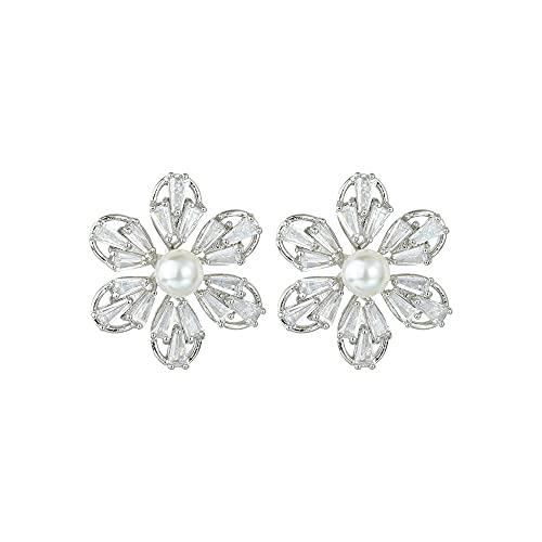 DJMJHG Pendientes de Flores de Perlas Pendientes Micro con Incrustaciones de circón Damas Simples Pendientes de Banquete de Boda Regalos