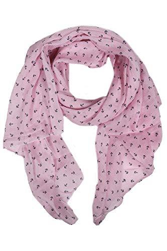 Zwillingsherz Seiden-Tuch mit Anker-Print - Hochwertiger Schal für Damen Mädchen - Halstuch - Umschlagstuch - Loop - weicher Schlauchschal für Sommer Herbst und Winter von Cashmere Dreams rosa