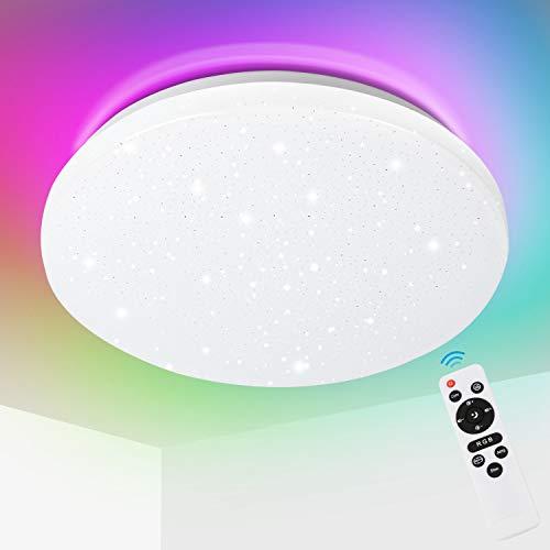 Hengda 24W Led Deckenleuchte, RGB Farbwechsel, Sternenhimmel Deckenlampe Dimmbar, mit Fernbedienung, 2700-6500K, mit Nachtlicht, für Schlafzimmer Wohnzimmer Küche Kinderzimmer Bad, IP44 Schutzart