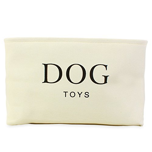 Cream Canvas Dog Toy Basket Box for Dogs Toy Storage. 40cms (16in) x 30cms (12in) x 25cms (10in)